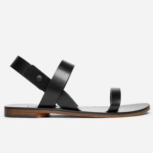 Everlane Ankle Wrap Black Leather Sandal